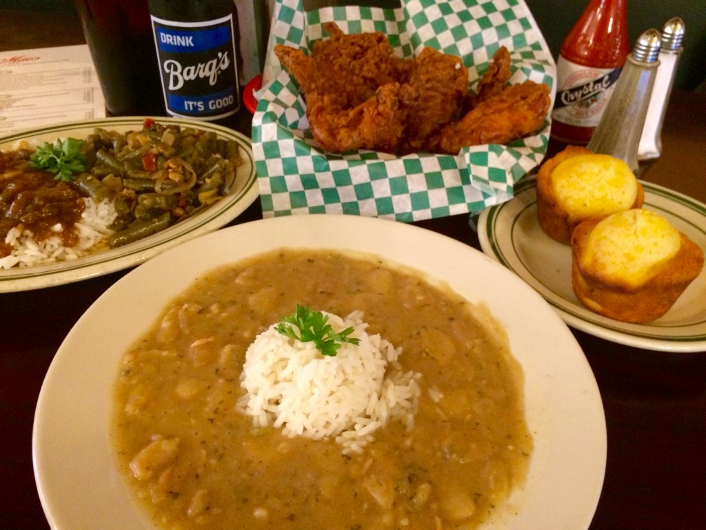 Willie Mae's Grocery & Deli's Butterbeans & Rice, Fried Chicken, Corn Muffins, and Seasoned Greens with Rice and Gravy (Kristine Froeba)