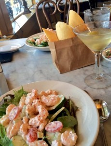 Ignatius Eatery's Shrimp Remoulade Salads and Dirty Martini (Kristine Froeba)