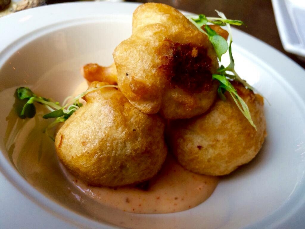 Crab & Crawfish Beignets with Remoulade Sauce (Kristine Froeba)