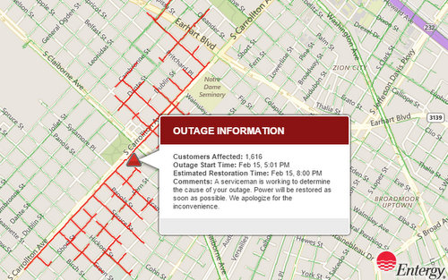 (map via Entergy, 5:05 p.m. Monday)
