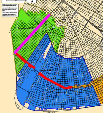 Dark green and dark blue lines show proposed boundaries. (via City of New Orleans; click for enlarged PDF)