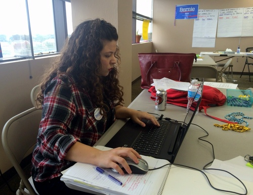 Sarah Slamen works at the Bernie Sanders campaign headquarters. (Danae Columbus for UptownMessenger.com)