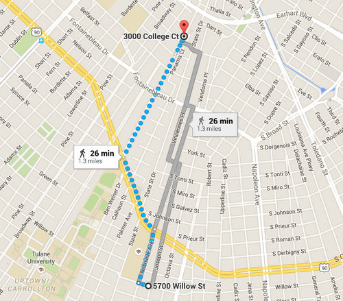 Walking from the 5700 block of Willow Street to the 3000 block of College Court -- the location of a shooting incident and an armed carjacking Monday night that investigators believe may be related -- would likely take less than 30 minutes via a variety of routes, according to Google maps.