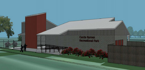 A rendering of the proposed new concessions building at Cuccia Byrnes playground. (via City of New Orleans)