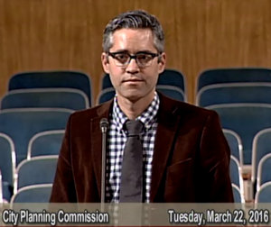 Daniel Momont of Dryades Public Market speaks to the City Planning Commission on Tuesday, March 22. (via City of New Orleans)