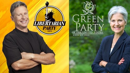 Former Gov. Gary Johnson of the Libertarian Party and Dr. Jill Stein of the Green Party. (image via change.org petition for their inclusion in CNN forums)