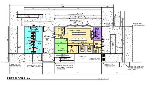 The floor plan for the first floor of the new Cuccia-Byrnes concessions stand. The second floor will be used for attic space and storage, plans show. (via City of New Orleans)