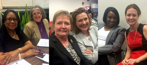 Women officials at the Orleans Parish Democratic Executive Committee meeting (from left): Nadine Ramsey and Deborah Langhoff, Susan Guidry and Kristen Gisleson Palmer, Angele Wilson and Caroline Fayard. (photos by Danae Columbus for UptownMessenger.com)