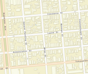 The 4100 block of Tchoupitoulas is between Marengo and Milan. (map via NOPD)