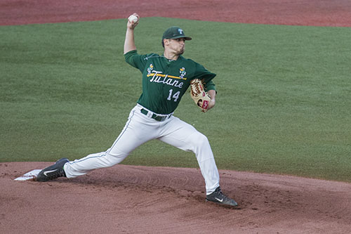 J.P. France, Tulane redshirt sophomore pitcher, throws the ball in the first inning of their game against LSU at Turchin stadium. The Green Wave beat the Tigers 4-1.