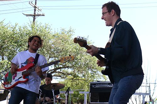 Kendrick Magallanes, left, and Dylan Kidd, right, of Elysian Feel perform at the Loyola University Stage at the 2016 Freret Street Festival. The event featured 18 artists on three stages, 35 food vendors and craft vendors ranging from Freret and Soniat to Napoleon Avenue. (Zach Brien, UptownMessenger.com)