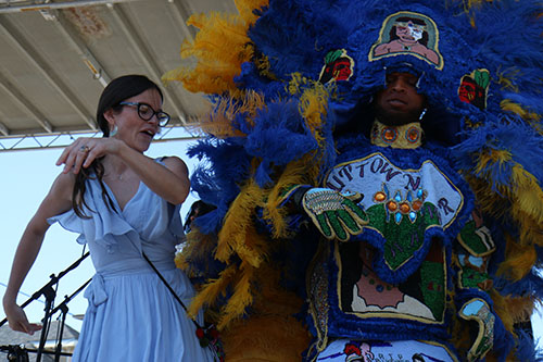 Rebeca Trejo, left, dances with the Wild Magnolias on the Alder Hotel stage at the 2016 Freret Street Festival. The event featured 18 artists on three stages, 35 food vendors and craft vendors ranging from Freret and Soniat to Napoleon Avenue. (Zach Brien, UptownMessenger.com)
