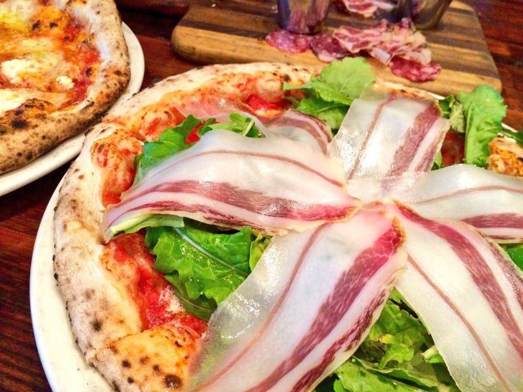 Quattro Formagi and Ricotta, Arugla, and Speck Neapolitan Pizza (Kristine Froeba)