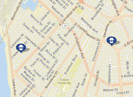 Robberies from May 19 and May 23. (map via NOPD)