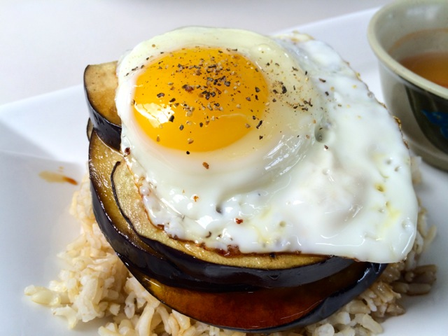 Eggplant Com over Brown Rice with Fried Egg (Kristine Froeba)