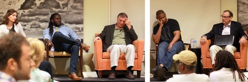 Panelists (in left photo, from left) Molly Mitchell, Quess Moore and Richard Marksbury, and (in right photo, from left) Kodi Roberts and Pierre McGraw listen to questioners near the end of a long, contentious panel discussion on Confederate monuments in New Orleans. (Robert Morris, UptownMessenger.com)