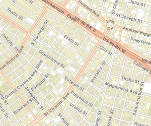 Robbery victims were shot Friday morning on Josephine near O.C. Haley Boulevard and at Lee Circle. (map via NOPD)