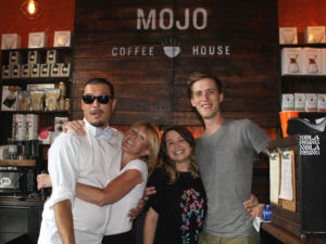 Mojo Coffee Roasters' Demian Estevez and Debra Dunn (left) of Ignatius Espresso Bar & Cafe celebrated Mojo's 10 year anniversary in May. (Courtesy of Mojo Coffee Roasters)