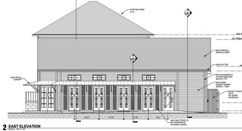 The new canopy and French doors are visible in this drawing of the rebuilt VFW hall on Lyons Street. (via City of New Orleans)
