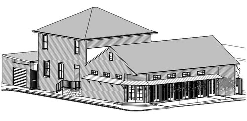 A rendering of the new VFW meeting hall adjacent to the existing two-story building, which will remain. (via City of New Orleans)