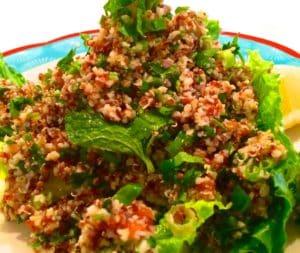 Tabuleh Quinoa Salad over Greens (Kristine Froeba)
