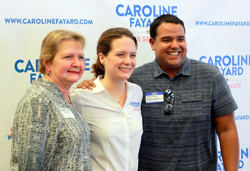 City council members Susan Guidry and Jared Brossett pose for a photo with Caroline Fayard at the rally. (Robert Morris, UptownMessenger.com)