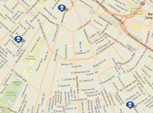 Carjackings on Constance and Vincennes, and a robbery attempt on Willow. (map via NOPD)