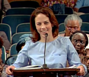 Emily Arata, then deputy mayor, addresses the New Orleans City Council on behalf of Mayor Landrieu in a March 2015 meeting. (via City of New Orleans)