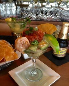 Coctel de Cameron, shrimp, pico, and avocado cocktail (Kristine Froeba)