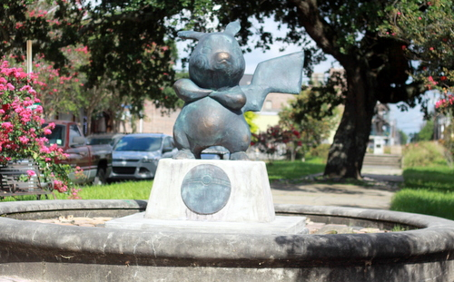 "The Pikachu statue stands guard over Terpsichore Street, in the same block as the ""Birth of the Muse"" statue on Prytania. (Robert Morris, UptownMessenger.com)"