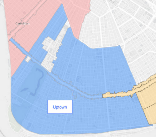 The boundaries of the proposed Uptown historic district are in blue. (via City of New Orleans)