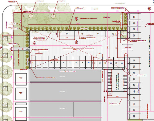A diagram of the proposed temporary parking lot by Studio WTA. (via City of New Orleans)