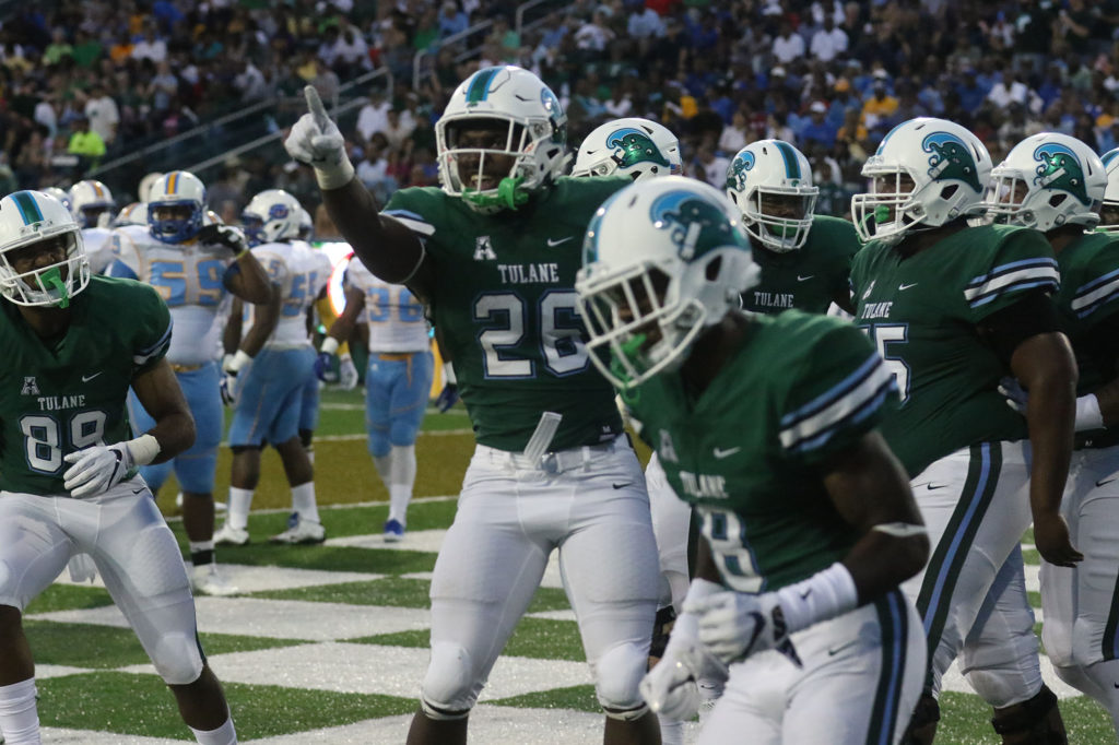 Tulane running back Dontrell Hilliard celebrates Tulane's first touchdown in the first quarter against Southern University. Tulane defeated Southern University 66 to 21 at their home opener at Yulman Stadium. (Zach Brien, UptownMessenger.com)