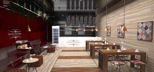 A rendering of the interior of Piccolo Gelateria (courtesy of Ross and Ria Turnbull)