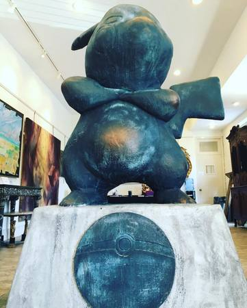 The Pikachu #Pokemonument stands ready in the gallery in a photo by Neal Auction Company. (via Facebook)