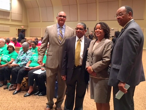 Moderator  Jeff Thomas (left), Council on Aging leader Howard Rodgers, Independent Police Monitor Susan Hutson and Assessor Errol Williams pose for a photo at the recent senior caucus. (Danae Columbus for UptownMessenger.com)