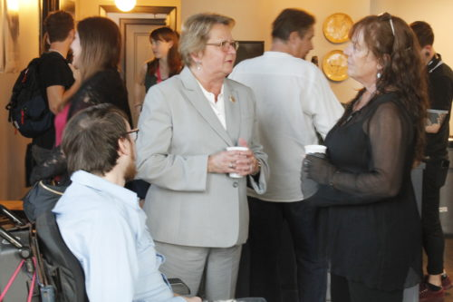 "Jesse Bascle (left) speaks to Susan Guidry and his mother Sue Ford (right) at the ""Jonah Stands Up"" pre-screening party at the Ace Hotel. (Jamal Melancon, Gentilly Messenger)"