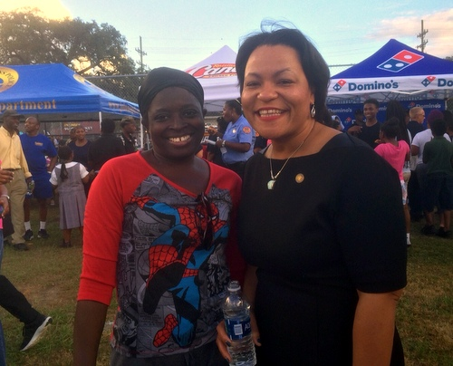 City Councilwoman LaToya Cantrell poses with a constituent during last week's National Night Out Against Crime events. (photo by Danae Columbus for UptownMessenger.com)