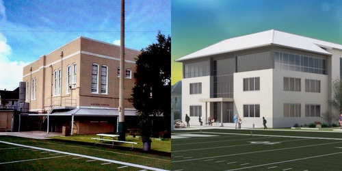 A photo of the Newman building to be torn down, and a rendering of the new science building to replace it. (via City of New Orleans)