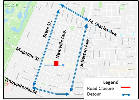 Magazine Street New Orleans Map.Magazine Nashville Intersection To Close For Three Weeks Uptown