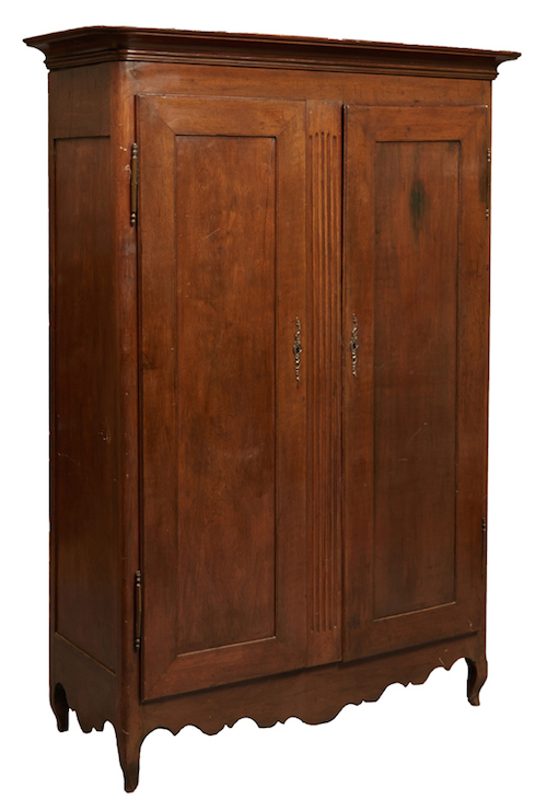 Southern Louisiana Creole Carved Walnut Armoire, 18th c.