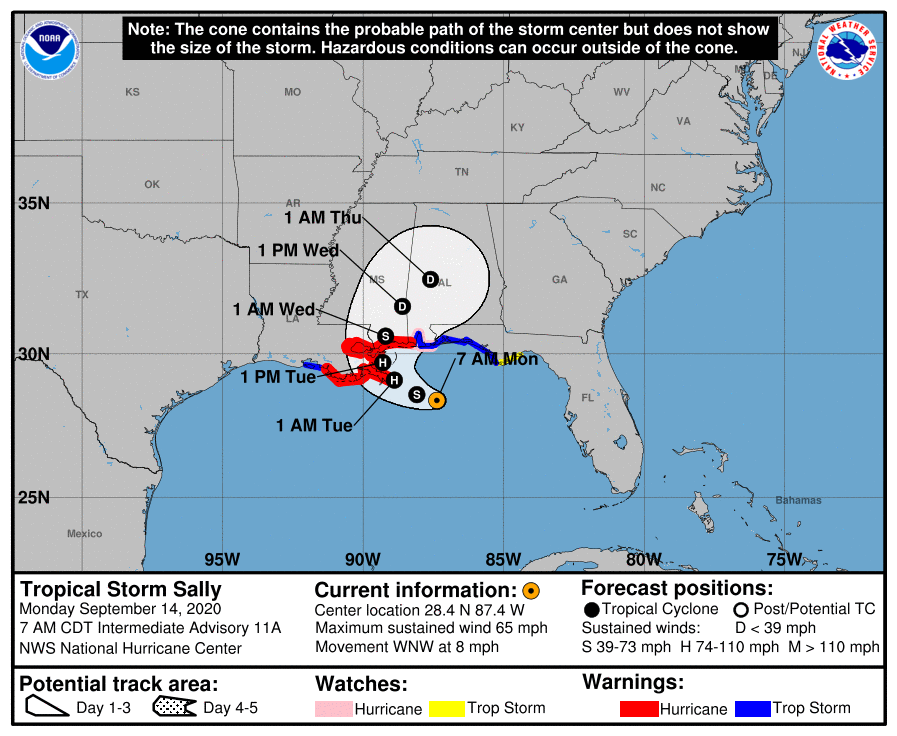 Tropical Storm Sally on track to make landfall in ... Hurricane Sally Tracker 2020